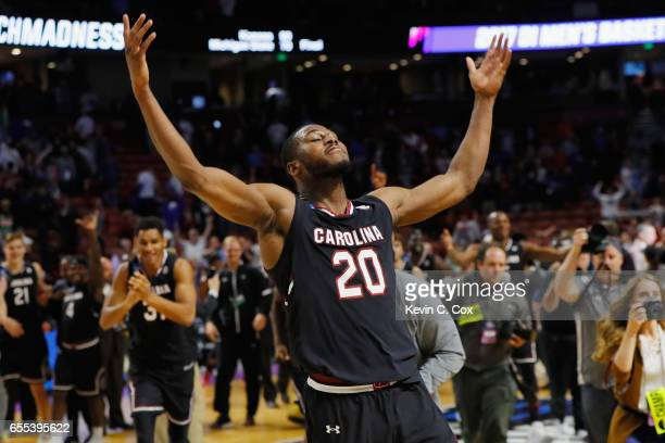 Justin McKie of the South Carolina Gamecocks celebrates defeating the Duke Blue Devils 8881 in the second round of the 2017 NCAA Men's Basketball...