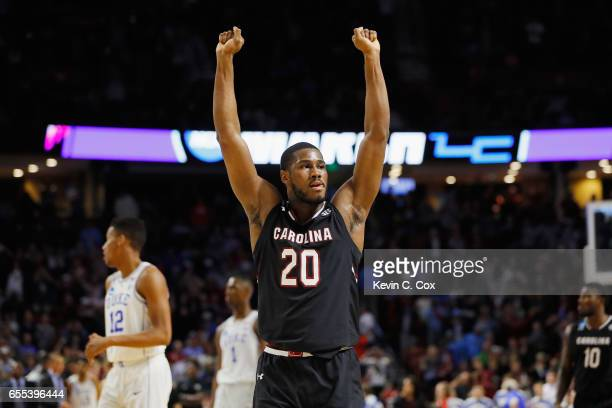 Justin McKie of the South Carolina Gamecocks reacts in the second half against the Duke Blue Devils during the second round of the 2017 NCAA Men's...