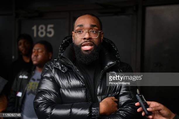 Justin 'Meezy' Williams rapper 21 Savage's manager speaks to reporters at #Free21Savage Rally at The Atlanta Immigration Court on February 12 2019 in...