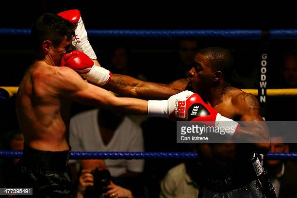 Justin Menzie and Liam Griffiths exchange punches during their Light Middleweight bout at York Hall on March 8 2014 in London England