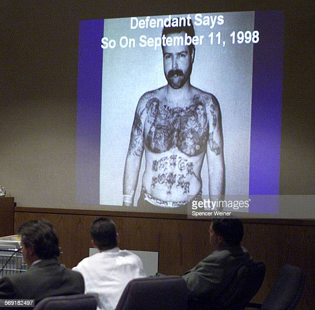 Justin Merriman watches powerpoint presentation during closing auguments Wednesday Merriman a white power gang member and Ventura resident during...
