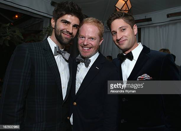 Justin Mikita actor Jesse Tyler Ferguson and Grey Goose Global Ambassador Joe McCanta attend GREY GOOSE PreOscar Party hosted by Michael Sugar Doug...