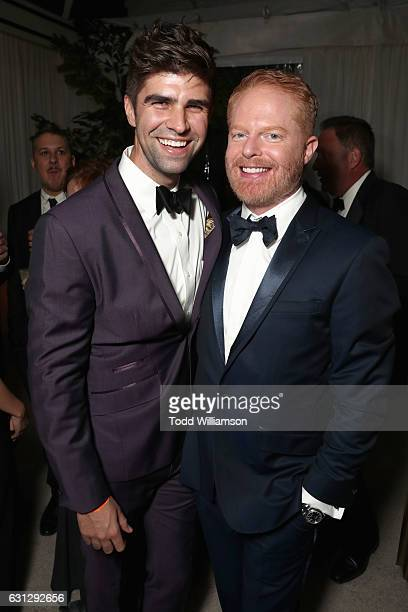 Justin Mikita and actor Jesse Tyler Ferguson attend Amazon Studios Golden Globes Celebration at The Beverly Hilton Hotel on January 8 2017 in Beverly...