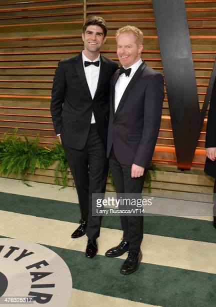 Justin Mikita and actor Jesse Tyler Ferguson attend the 2014 Vanity Fair Oscar Party Hosted By Graydon Carter on March 2 2014 in West Hollywood...