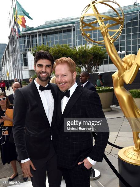 Justin Mikita and actor Jesse Tyler Ferguson attend the 66th Annual Primetime Emmy Awards held at Nokia Theatre LA Live on August 25 2014 in Los...