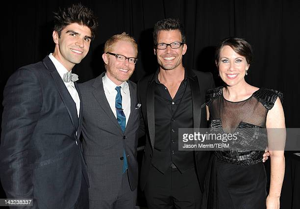 Justin Mikita and actors Jesse Tyler Ferguson Mark Deklin and Miriam Shor backstage at the 23rd Annual GLAAD Media Awards presented by Ketel One and...