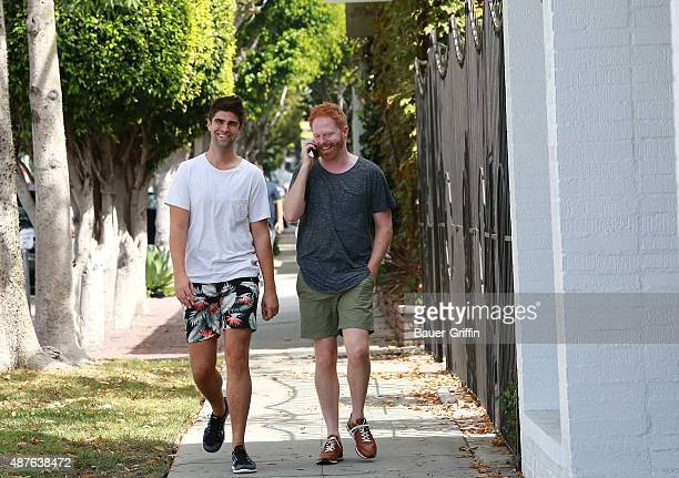 Justin Mikita and Jesse Tyler Ferguson are seen on September 10 2015 in Los Angeles California