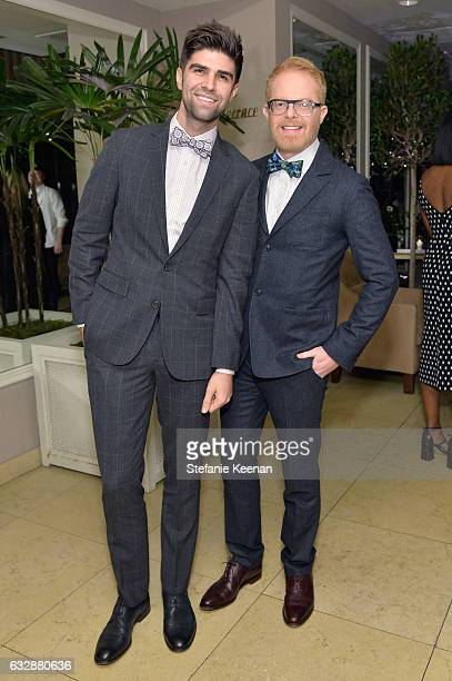 Justin Mikita and Jesse Tyler Ferguson attend Harper's BAZAAR celebration of the 150 Most Fashionable Women presented by TUMI in partnership with...