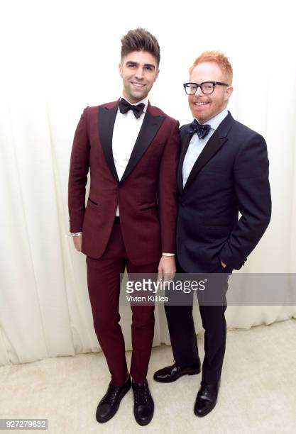 Justin Mikita and Jesse Tyler Ferguson attend the 26th annual Elton John AIDS Foundation Academy Awards Viewing Party with cocktails by Clase Azul...