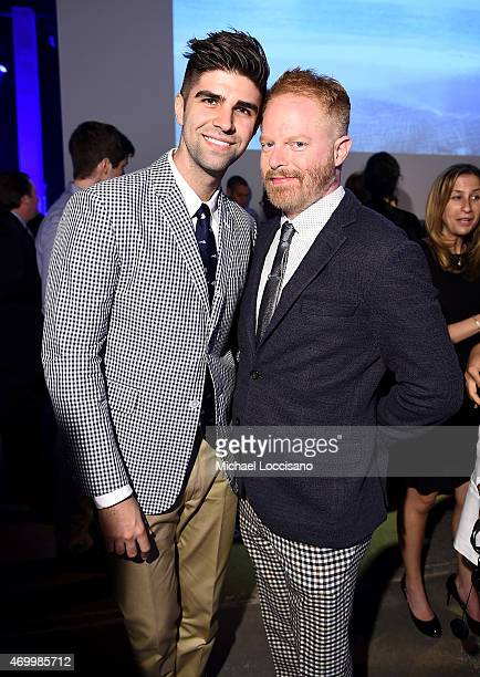 Justin Mikita and Jesse Tyler Ferguson attend the Good Shepherd Services Spring Party 2015 hosted by Isaac Mizrahion on April 16 2015 in New York City
