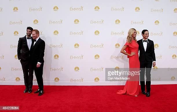 Justin Mikita Jesse Tyler Ferguson and Heidi Klum arrive at the 66th Annual Primetime Emmy Awards at Nokia Theatre LA Live on August 25 2014 in Los...