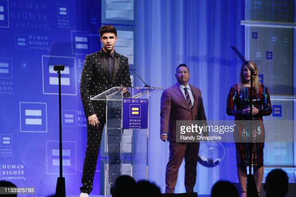 Justin Mikita, Nam Lam, and Jessica Bair speak onstage during The Human Rights Campaign 2019 Los Angeles Gala Dinner at JW Marriott Los Angeles at...