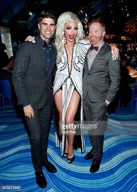 Justin Mikita performer Alyssa Edwards and actor Jesse Tyler Ferguson attend the Los Angeles LGBT Center 47th Anniversary Gala Vanguard Awards at...