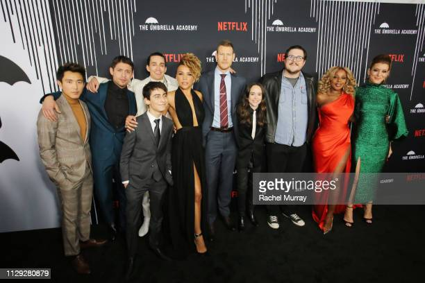 Justin Min David Castañeda Robert Sheehan Aidan Gallagher Emmy RaverLampman Tom Hopper Ellen Page Cameron Britton Mary J Blige and Kate Walsh attend...