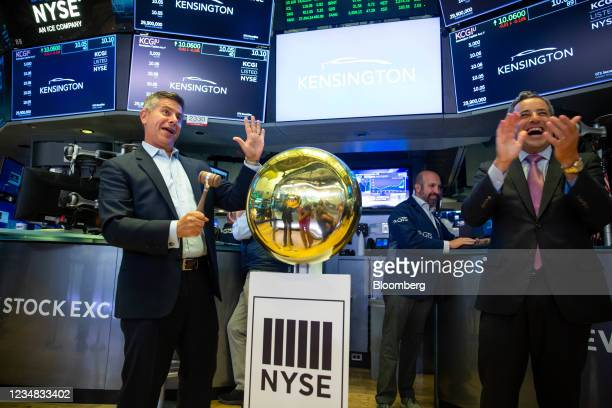 Justin Mirro, chairman and chief executive officer of Kensington Capital Acquisition Corp., left, rings a ceremonial bell during the initial public...