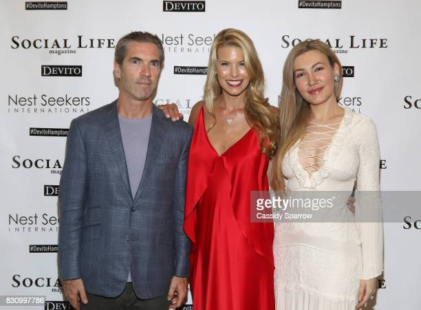 Justin Mitchell Beth Stern and Devorah Rose attend the Social Life Magazine Nest Seekers August Issue Party on August 12 2017 in Southampton New York