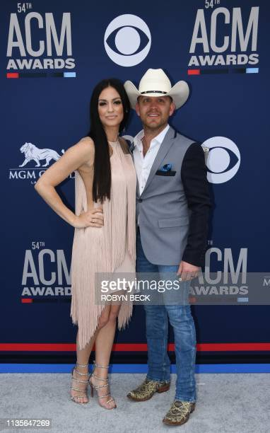 Justin Moore and wife Kate Moore arrive for the 54th Academy of Country Music Awards on April 7 2019 in Las Vegas Nevada