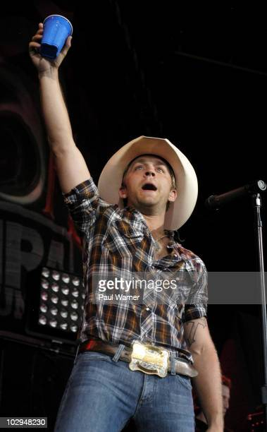 Justin Moore performs as a special guest on Brad Paisley's 'H2O' World Tour at the First Midwest Bank Amphitheatre on July 16 2010 in Tinley Park...