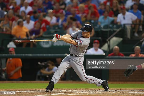 Justin Morneau of the Minnesota Twins at Rangers Ballpark in Arlington on August 30 2013 in Arlington Texas