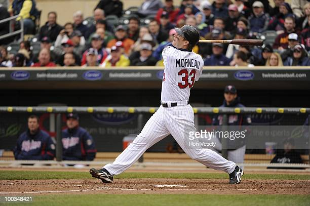 Justin Morneau of the Minnesota Twins bats against the Chicago White Sox on May 12 2010 at Target Field in Minneapolis Minnesota The Twins defeated...