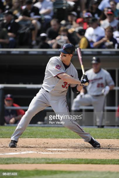 Justin Morneau of the Minnesota Twins bats against the Chicago White Sox on April 10 2010 at US Cellular Field in Chicago Illinois The Twins defeated...