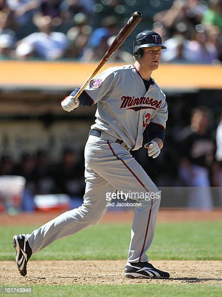Justin Morneau of the Minnesota Twins bats against the Oakland Athletics during an MLB game at the Oakland-Alameda County Coliseum on June 6, 2010 in...