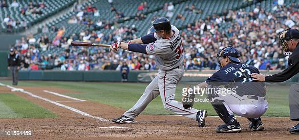 Justin Morneau of the Minnesota Twins bats against the Seattle Mariners at Safeco Field on May 31 2010 in Seattle Washington