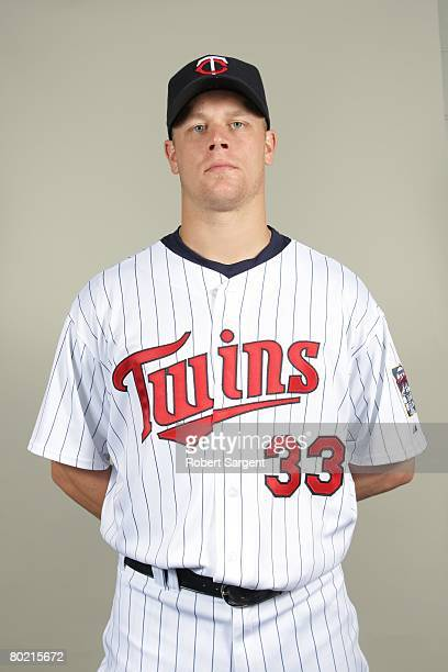 Justin Morneau of the Minnesota Twins poses for a portrait during photo day at Hammond Stadium on February 25 2008 in Ft Myers Florida