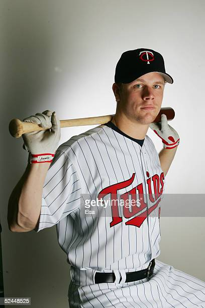 Justin Morneau poses for a portrait during the Minnesota Twins Portrait Day on February 28 2005 at Hammond Stadium in Ft Myers Florida