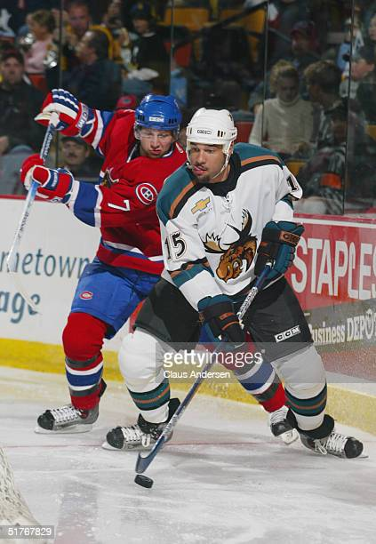 Justin Morrison of the Manitoba Moose stickhandles away from Philippe Plante of the Hamilton Bulldogs at the Copps Coliseum on October 17, 2004 in...