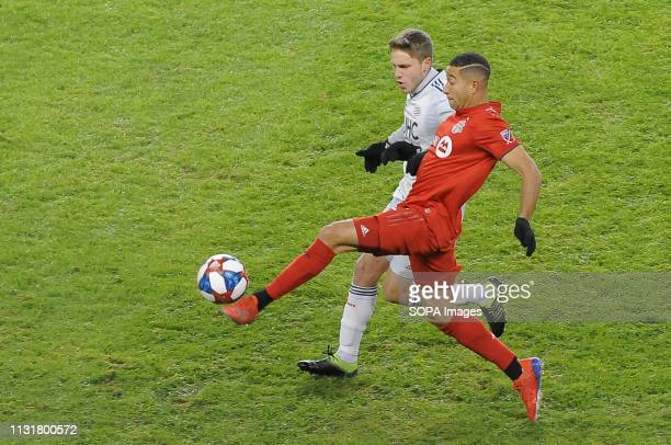 BMO FIELD TORONTO ONTARIO CANADA Justin Morrow kick the ball during 2019 MLS Regular Season match between Toronto FC and New England Revolution at...