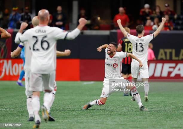 Justin Morrow of Toronto FC reacts after their 2-1 win over Atlanta United in the Eastern Conference Finals between Atlanta United and Toronto FC at...
