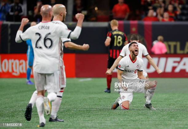 Justin Morrow of Toronto FC reacts after their 21 win over Atlanta United in the Eastern Conference Finals between Atlanta United and Toronto FC at...