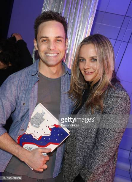 Justin Mortelliti and Alicia Silverstone pose backstage at The New Group production of 'Clueless The Musical' based on the iconic 1995 film at The...