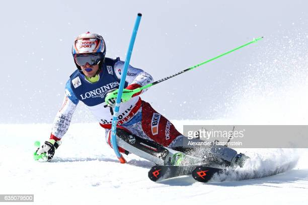 Justin Murisier of Switzerland competes in the Men's Combined Slalom during the FIS Alpine World Ski Championships on February 13 2017 in St Moritz...
