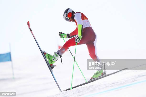 Justin Murisier of Switzerland fails to finish during the Alpine Skiing Men's Giant Slalom on day nine of the PyeongChang 2018 Winter Olympic Games...