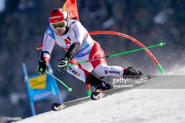 Justin Murisier of Switzerland in the second run of the Audi FIS Alpine Ski World Cup - Men's Giant Slalom on October 27, 2019 in Soelden, Austria.