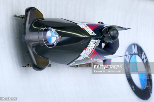 Justin Olsen and Evan Weinstock of USA compete at Deutsche Post Eisarena Koenigssee during the BMW IBSF World Cup twoman Bobsleigh World Cup on...