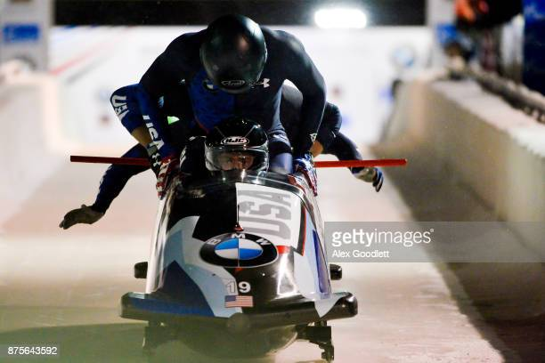 Justin Olsen Evan Weinstock Steven Langton and Christopher Fogt of the United States compete in the 4man Bobsleigh during the BMW IBSF Bobsleigh and...