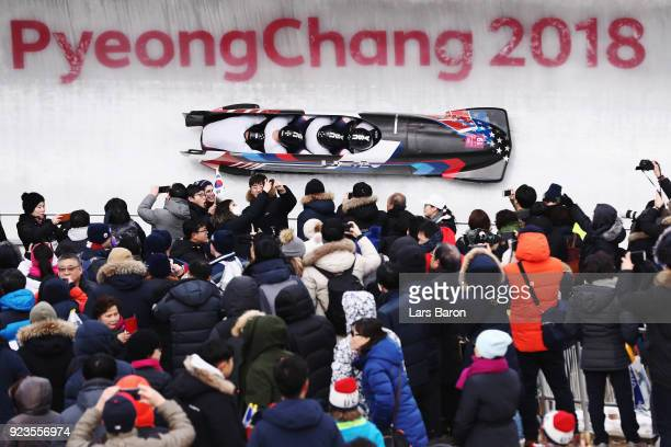 Justin Olsen Nathan Weber Carlo Valdes and Christopher Fogt of the United States compete during 4man Bobsleigh Heats on day fifteen of the...