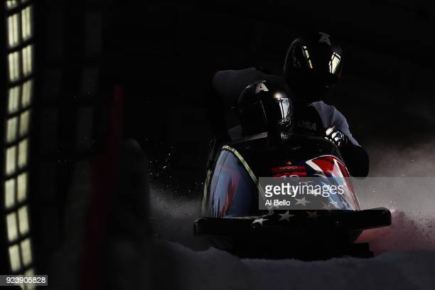 Justin Olsen Nathan Weber Carlo Valdes and Christopher Fogt of the United States finish their run during the 4man Boblseigh Heats on day sixteen of...