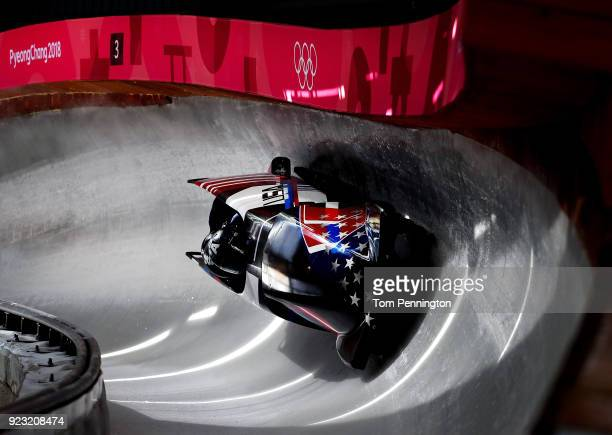 Justin Olsen of the United States pilots his sled during 4man Bobsleigh training on day 14 of the Pyeongchang 2018 Winter Olympics on February 23...