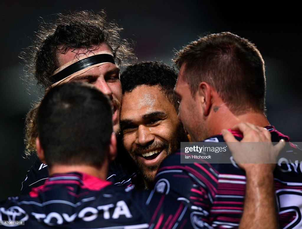 Justin O'Neil (c) of the Cowboys celebrates after scoring a try during the round 20 NRL match between the North Queensland Cowboys and the New Zealand Warriors at 1300SMILES Stadium on July 22, 2017 in Townsville, Australia.
