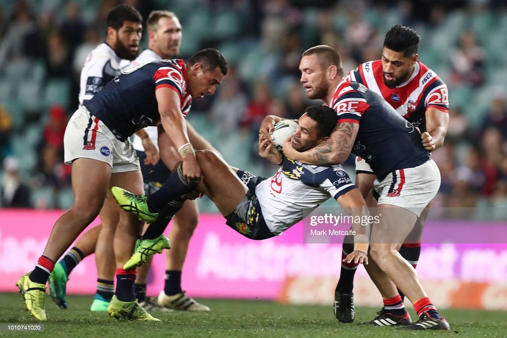 Justin OÕNeill of the Cowboys is tackled during the round 21 NRL match between the Sydney Roosters and the North Queensland Cowboys at Allianz Stadium on August 4, 2018 in Sydney, Australia.