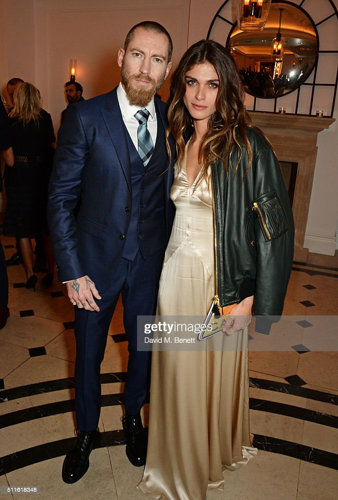 Justin O'Shea (L) and Elisa Sednaoui-Dellal attend as mytheresa.com and Burberry celebrate the new MYT Woman at Thomas's on February 21, 2016 in London, England.
