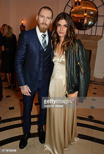 Justin O'Shea and Elisa SednaouiDellal attend as mytheresacom and Burberry celebrate the new MYT Woman at Thomas's on February 21 2016 in London...