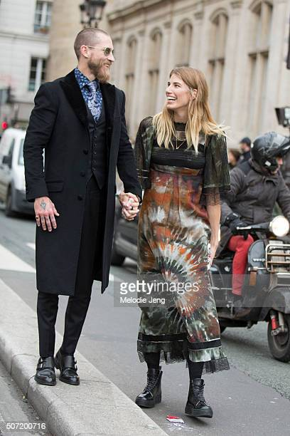 Justin O'Shea and Veronika Heilbrunner after the Jean Paul Gaultier show on January 27 2016 in Paris France