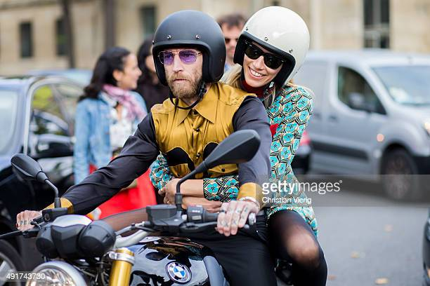 Justin O'Shea and Veronika Heilbrunner at Miu Miu during the Paris Fashion Week Womenswear Spring/Summer 2016 on Oktober 7 2015 in Paris France