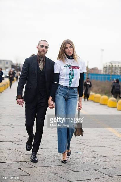 Justin O'Shea and Veronika Heilbrunner at the Gucci show on February 24 2016 in Milan Italy