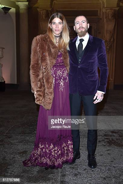 Justin O'Shea and Veronika Heilbrunner attend Vogue Cocktail Party honoring photographer Mario Testino on February 27 2016 in Milan Italy